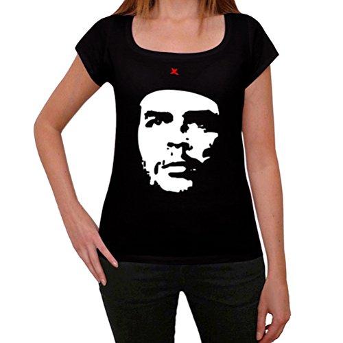 Che Guevara Negro, La Camiseta de Las Mujeres, Manga Corta, Cuello Redondo, Negro