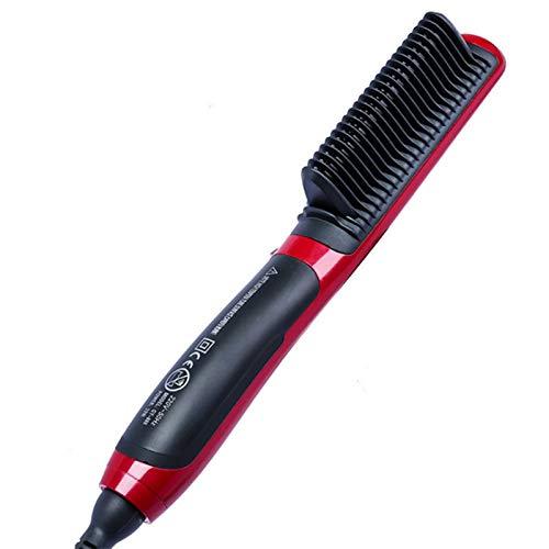 Hair Straight Styler, Multifunktionaler Bartglätter Styler Brush Men Heat Hair Ceramic Curler,Schwarz