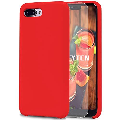 Feyten Coque Huawei Honor 10 [avec Verre Trempé], Silicone Liquide Housse Case Anti-Choc Anti-Rayures Protection Complète Cover Étui avec Tissu Microfibre Coussin Coveri (Rouge)