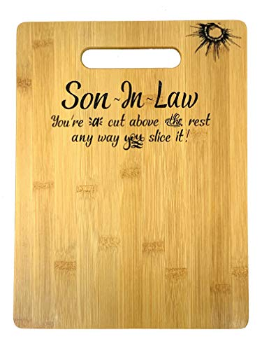 """Gift for Son-in-Law Birthday, Christmas, Wedding Unique Engraved Bamboo Cutting board 9"""" x 12"""""""
