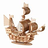 Roexboz Modelo de barco de madera DIY puzzle 3D Puzzle Boat Wooden Puzzle Model Building Set Thinking Game – DIY Puzzle Learning Toy