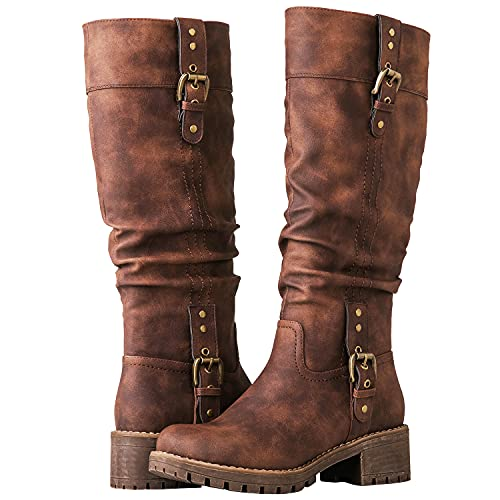 GLOBALWIN Women's Chunky Heel Brown Knee High Riding Boots 10M