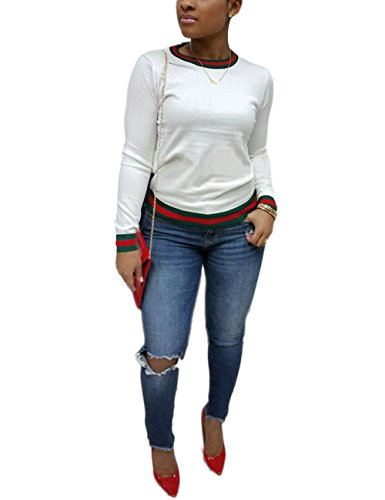 Casual Autumn Long Sleeve Round Neck Cotton Tops New Brief Blouse Tops for Ladies White XXL