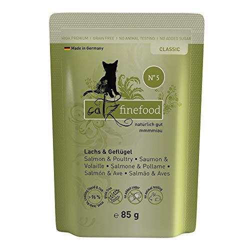 catz finefood N 5 Lachs & Geflügel Feinkost Katzenfutter nass, verfeinert mit Spinat & Tomate, 16 x 85g Beutel, 1.36 kg