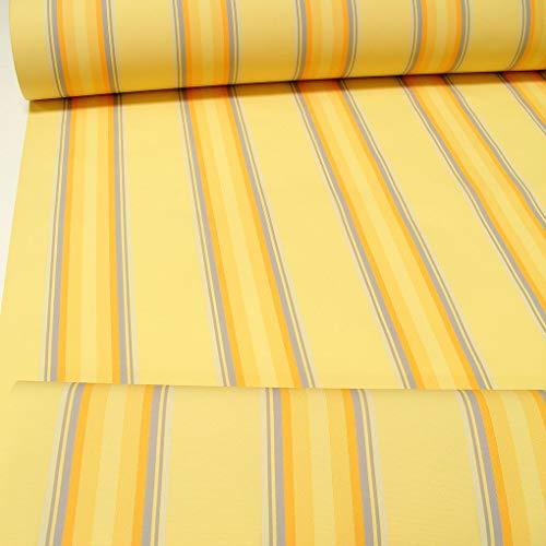 TOLKO Sonnenschutz Markisen-Stoffe als Meterware für Terrassen-Überdachung und Beschattung | mit UV-Schutz 50+ | Wasserdicht, Extra Langlebig - Ohne Ausbleichen - 120cm breit (Vanille-Gelb-Zinn)