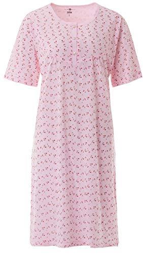 Zeitlos Nachthemd Damen Kurzarm Mille Fleur Blumen Knöpfe Schlafshirt Übergröße bis 6XL, Farbe:rosa, Größe:XL
