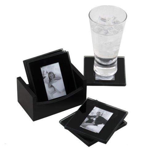 MELANNCO 6-Piece Photo Coaster Set, Black