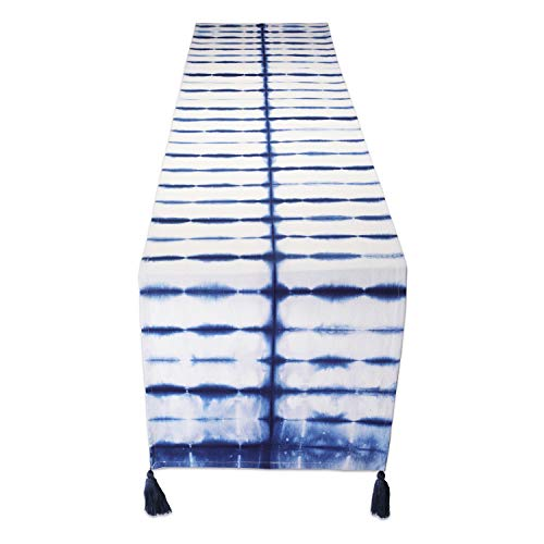 Folkulture Table Runner with Tassels 14 x 72 Inch, Boho Table Runner for Farmhouse Style Table Décor or Modern Bohemian Kitchen Decor, 100% Cotton, Navy Blue Shibori