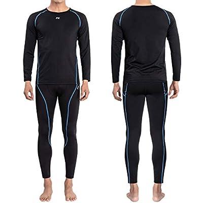 FITEXTREME Mens MAXHEAT Soft Fleece Long Johns Thermal Underwear Set Black L