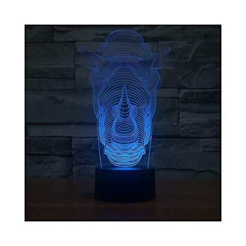 Rhinocéros coloré veilleuse à économie d'énergie acrylique LED idées de lumière décorative de salon produits