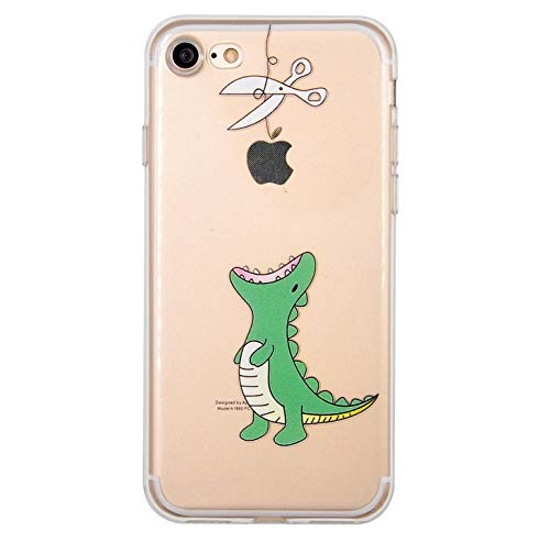 NEOFAY Funda iPhone 7, Funda iPhone 8, Transparente Soft Suave Grueso TPU Protectora Carcasa, Lindo Patrón Protección Funda para Apple iPhone 7/8 (Dinosaurio)