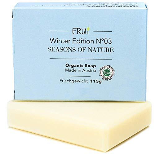 ERUi® Bio Gesichtsseife Winter, Naturseife für trockene, unreine und empfindliche Haut - Ohne Palmöl, Zusätze & Duftstoffe - Handgemachte biologisch abbaubare Naturkosmetik Bio Seife (1 x 115 g)
