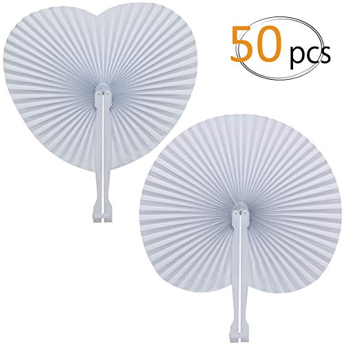 Mejor WOWOSS 60 Packs White Paper Fans Wedding Fans Round Shaped Folding Fans Plastic Handle Wedding Celebration Birthday Party Favor crítica 2020