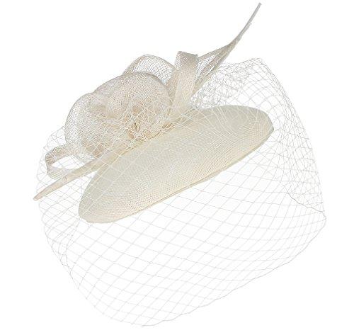 GEMVIE Damen Faszinator Federhut Netz Brauthut Feder Kopfschmücke Haar Clip Hut für Party Kirche Hochzeit Festival Beige