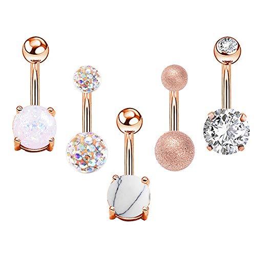 XdiseD9Xsmao 5/10 stuks navelpiercing, opaal, navelpiercing, lichaamssieraden, cadeau voor Valentijnsdag