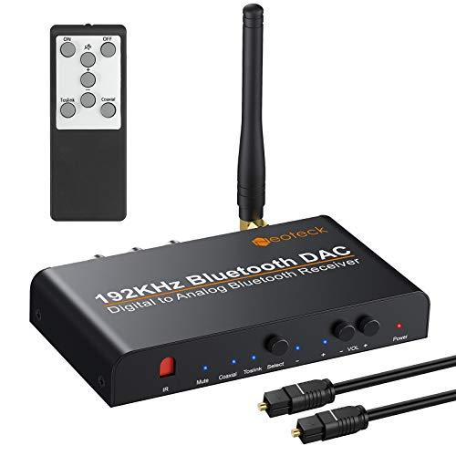 Neoteck 192kHz Digital a Analógico Convertidor con Bluetooth 5.0 Digital Coaxial Toslink a Analógico Estéreo L/R RCA con 3.5mm Jack Compatible con aptX Soporte Volumen de Control Remoto IR