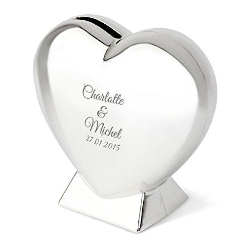 Herz-Spardose mit Gravur | schöne Spardose Herz zur Hochzeit oder einem gemeinsamen romantischen Anlass | Silber, 9cm