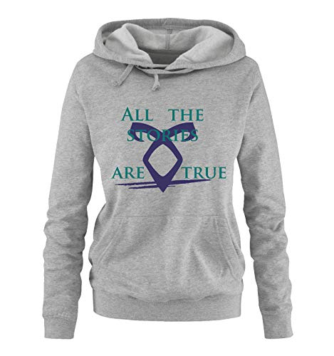 Just Style It - All The Stories Are True - Shadowhunters - Damen Hoodie - Grau/Türkis-Lila Gr. L