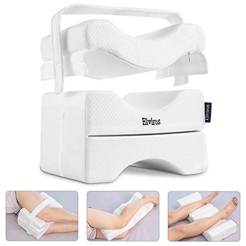Elviros Knee Pillow for Side Sleepers, Orthopedic Memory Foam Wedge Contour Leg Pillow, Multi...