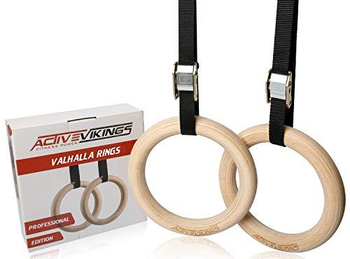 ActiveVikings Valhalla Rings - Dispositivo de entrenamiento ideal para el hogar y el exterior, anillos de gimnasia con correas, superficie antideslizante, diámetro de 23 cm