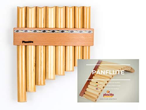 Panflöte aus Bambus, Indianische Flöte, rumänische Bauart mit 8 Tönen/Rohren in C-Dur + LEHRBUCH mit hochwertigen Holzriemen für Anfänger und Fortgeschrittene, handgemacht, handmade von Plaschke Instruments aus Südtirol/Italien