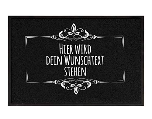 True Statements Fussmatte Dein Wunschtext 3zeilig personalisiert - originelles Geschenk (Größe 35x50cm, rutschfest, waschbar), hintergrund schwarz
