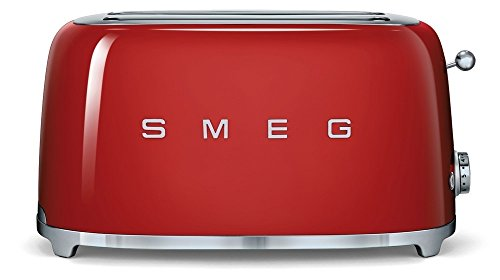 SMEG Tostador TSF02RDEU, 1500 W, Acero Inoxidable, 2 Ranuras, Rojo