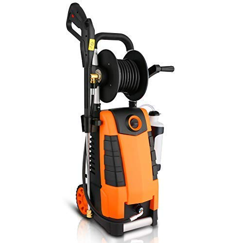 Fantastic Deal! Highsell 3800PSI Electric Pressure Washer, MAX 2.8GPM Electric Power Washer 1800W High Pressure Washer with Hose Reel MR3800, Orange
