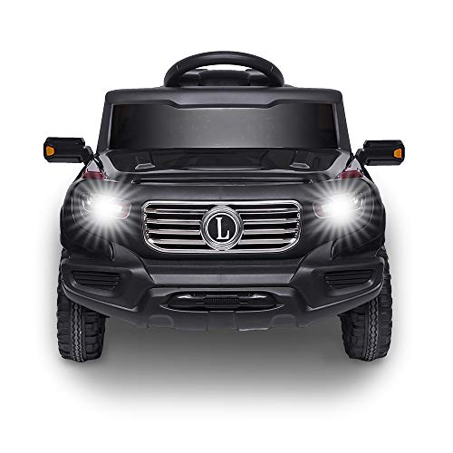 VALUE BOX Electric Remote Control Truck, Kids Toddler Ride On Cars 6V Battery Motorized Vehicles Children's Best Toy Car Safe with 3 Speeds, Music, seat Belts, LED Lights and Realistic Horns (Black)