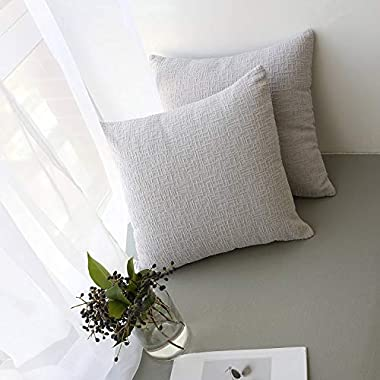 Kevin Textile Decor Decorative Velvet Pillow Case Supersoft Square Pillow Cover Corduroy Striped Euro Throw Cushion Cover for Couch/Bed, 18 x18  (45x45),2 Packs,Light Grey
