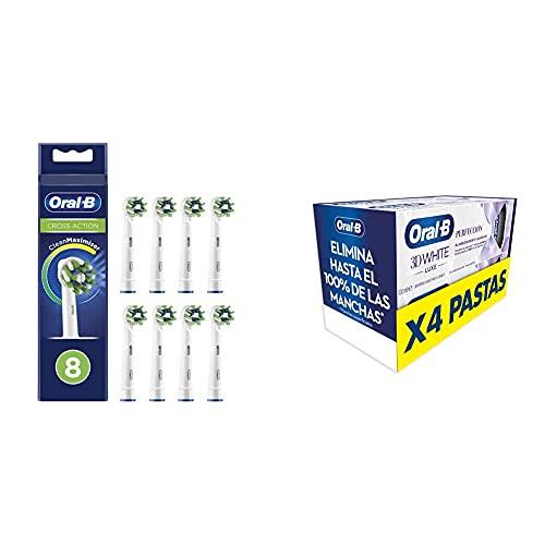 Oral-B CrossAction Cabezales de Recambio Tamaño Buzón, Pack de 8 Recambios con Tecnología CleanMaximiser para Cepillos de Dientes Eléctricos + Oral-B 3DWhite Luxe Pasta de Dientes Blanqueante