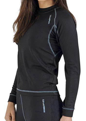 Camiseta térmica para mujer de manga larga, ideal para deportes de invierno o situaciones de frío y humedad. Con aislante térmico, transpirable, ligera y confortable. EFECTO THERMAL. (Negro, L)