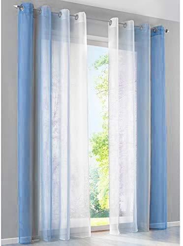 SIMPVALE Rideaux Voilages Gaze voilages de dégradés Voile Transparent Décor de Fenêtre Salle de Bain Balcon Chambre 2 Panneaux, Bleu avec Blanc, Largeur 140cm / Hauteur 145cm