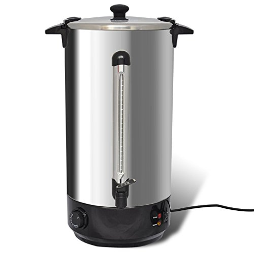 Anself - Hervidor calentador de agua y vino con dispensador, 25 litros, 2500w, acero inoxidable (con escala y controlador de temperatura)