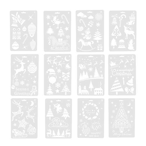 SUPVOX 12 Stück Zeichenschablonen Malschablonen Weihnachten Schablone Set Stanzschablone Stanzformen für DIY Bullet Journal Album Scrapbooking Papier Karte Deko