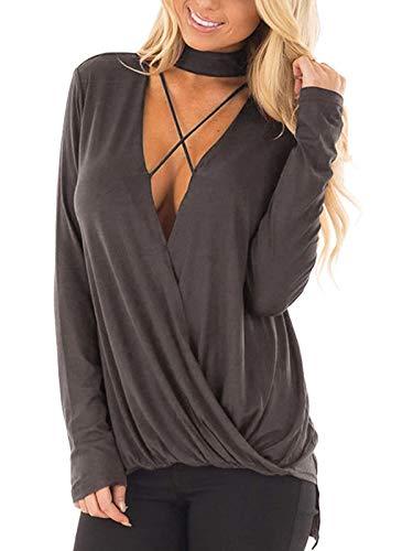 YOINS Seksowna koszulka damska, elegancka koszulka z długim rękawem, damska bluzka szyfonowa, jesienna choker, T-shirt, dekolt w kształcie litery V,