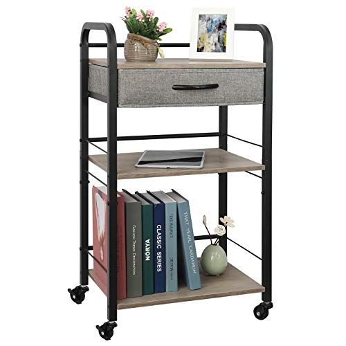 3 Tier Rolling Utility Carts with Drawer Wood Metal Roller with 5 S Hooks Handles Kitchen Island Cart Lockable Storage Organizer with One Adjustable Tier for Dining Room Office Restaurant Hotel