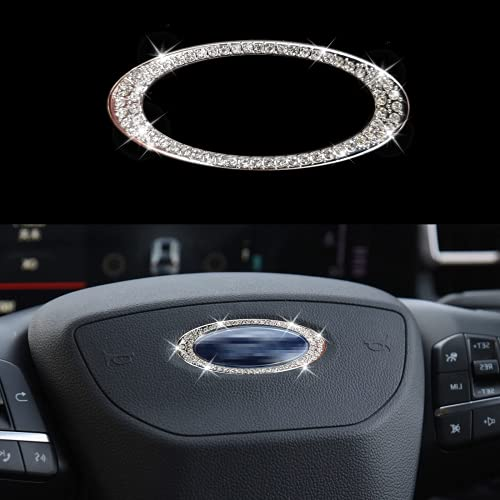 KVLUAY Bling Bling Diamond Steering Wheel Logo Caps Compatible with Ford,DIY Diamond Sparkly Crystal Emblem Accessories for Women, Fit for Focus, Edge, Escape, Expedition, Explorer, Fusio(Flat)