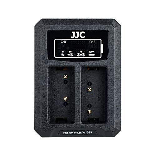 JJC USB Dual Ladegerät Akkulader für Fujifilm X-S10 X-E4 X-PRO3 X-PRO2 X-PRO1 X-H1 X-T3 X-T2 X-T1 X-T30 X-T20 X-T10 X-A5 X-T200 X-T100 X100V X100F Kameras für Fuji NP-W126/NP-W126s Akku