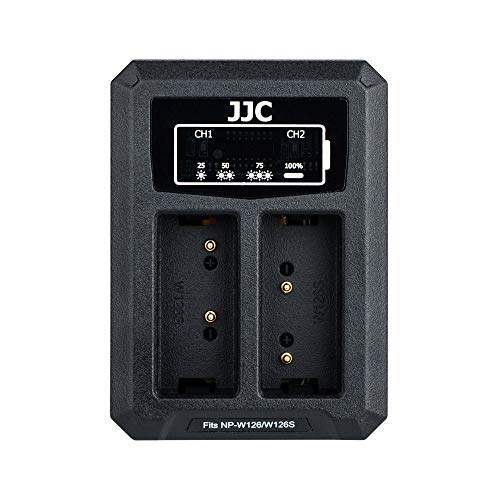 JJC NP-W126 Battery Charger USB Dual Slot for Fuji Fujifilm X-T3 X-T2 X-T1 X-S10 X-T30 X-T20 X-T10 X-T200 X-T100 X100V X100F X-H1 X-PRO3 X-PRO2 X-E4 X-E3 X-E2 X-E2S X-E1 X-A7 and More Fujifilm Cameras