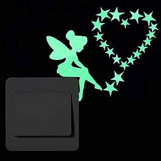 POPIGIST 2pcs Luminous Light Switch Decals Glow in The Dark Wish Fairy and Magic Fairy Wall Stickers Light Switch Decor Art Mural Paste