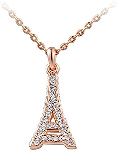 Necklace Eiffel Tower 3D Pendant Necklace 18K Rose Gold Plated With Austrian AAA + Crystals