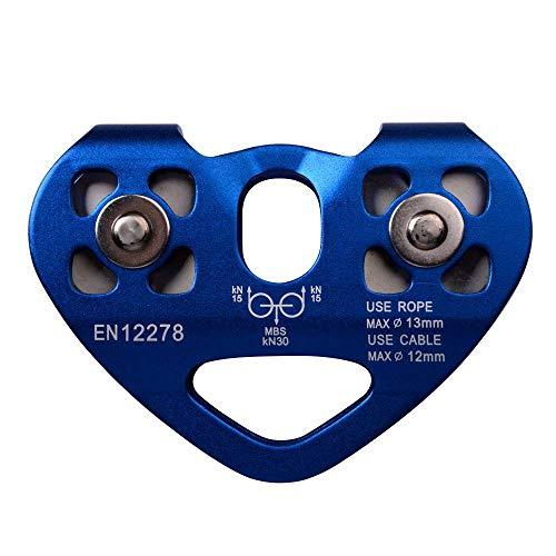 Carrucola Tandem Pulley, Helaryfreemear Alpinismo Arrampicata Rock 30KN / 6700 lbs Zip Line / Filo cavo Puleggia carrello (blu)