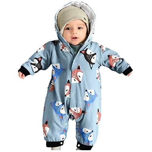 Baby Overall Mit Kapuze Footies Strampler Winter Schneeanzüge Karikatur Jumpsuit Onesies, Giraffe 0-3 Monate