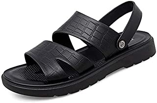 GHC Leisure Slippers & Sandals, Summer Outdoor Genuine Leather Sandals for Men, Water Pool Shoes Slip on and Adjustable Ba...