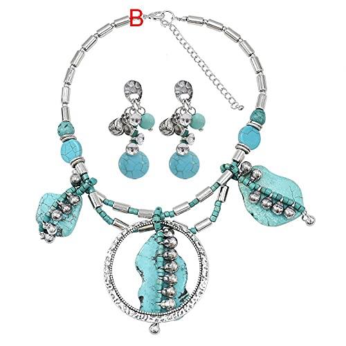 Juego de pendientes y collar de plata afgana, con borla de moneda, collar y pendientes; juego de pendientes para mujeres gitanas turcas (color metálico: E)