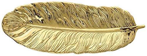 WZNING Creative Ceramic Model Sheet Makeup jewelry Storage Disc Tray Pen jewelry Brush Organizer Sushi Dessert Plate (Color: Green-s)-Gold-l