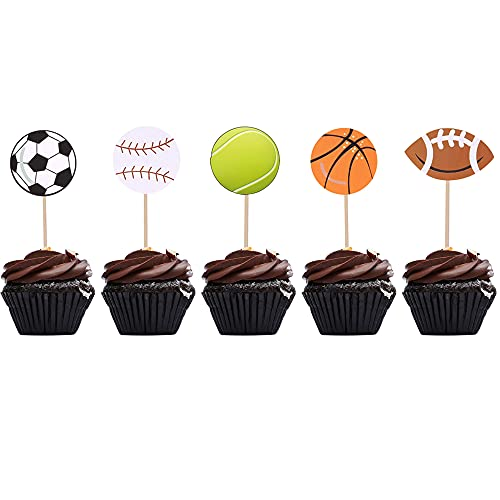 Sports Cupcake Toppers Boy Birthday Sports Theme Party Supplies Decoration 30 PCS