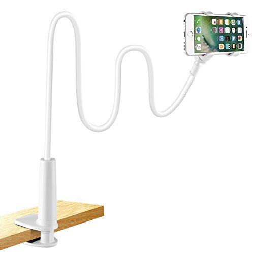 LONZOTH Handyhalter, Handy Halterung Schwanenhals Halter Universal Ständer für iPhone Samsung Huawei Smartphone Handy Tablet 360° Drehen (Weiß)