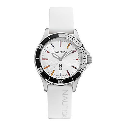 Nautica - Reloj de pulsera para hombre, diseño de trofeo de mármol, chapado en latón, acero inoxidable, correa de silicona, azul, 18 relojes casuales (modelo: NAPMHS003)